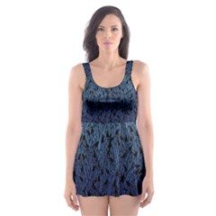 Blue Ombre Feather Pattern, Black,  Skater Dress Swimsuit