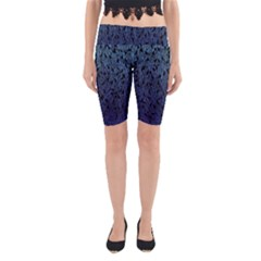 Blue Ombre Feather Pattern, Black,  Yoga Cropped Leggings