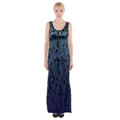 Blue Ombre Feather Pattern, Black,  Maxi Thigh Split Dress
