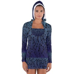 Blue Ombre Feather Pattern, Black,  Women s Long Sleeve Hooded T Shirt