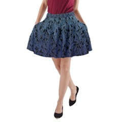 Blue Ombre Feather Pattern, Black,  A-Line Pocket Skirt