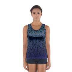 Blue Ombre Feather Pattern, Black,  Tops