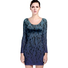Blue Ombre Feather Pattern, Black,  Long Sleeve Velvet Bodycon Dress