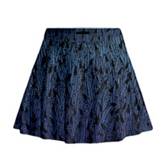 Blue Ombre Feather Pattern, Black,  Mini Flare Skirt