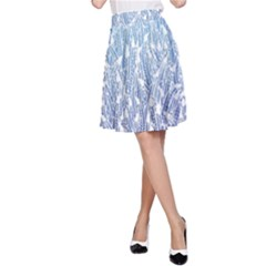 Blue Ombre Feather Pattern, White,  A-Line Skirt