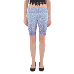 Blue Ombre Feather Pattern, White,  Yoga Cropped Leggings