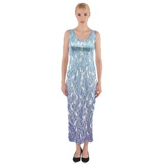 Blue Ombre Feather Pattern, White,  Fitted Maxi Dress