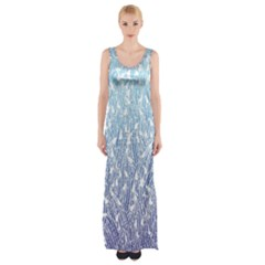 Blue Ombre Feather Pattern, White,  Maxi Thigh Split Dress
