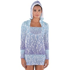 Blue Ombre Feather Pattern, White,  Women s Long Sleeve Hooded T-shirt