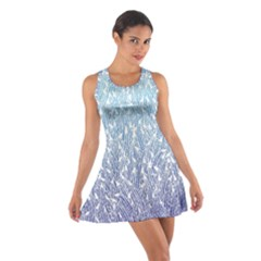 Blue Ombre Feather Pattern, White,  Racerback Dresses