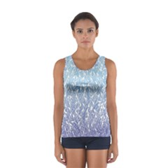 Blue Ombre Feather Pattern, White,  Tops