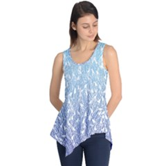 Blue Ombre Feather Pattern, White,  Sleeveless Tunic