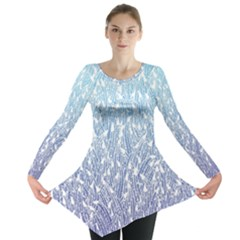 Blue Ombre Feather Pattern, White,  Long Sleeve Tunic