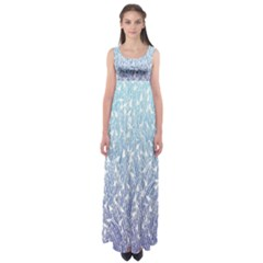 Blue Ombre Feather Pattern, White,  Empire Waist Maxi Dress