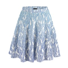 Blue Ombre Feather Pattern, White,  High Waist Skirt