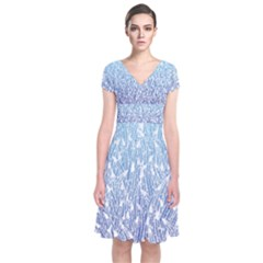 Blue Ombre Feather Pattern, White,  Wrap Dress