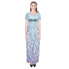 Blue Ombre Feather Pattern, White,  Short Sleeve Maxi Dress