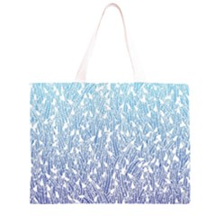 Blue Ombre feather pattern, white, Zipper Large Tote Bag