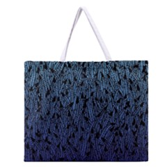 Blue Ombre feather pattern, black, Zipper Large Tote Bag