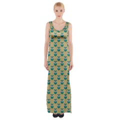 Small Teal Owls On Ecru Maxi Thigh Split Dress
