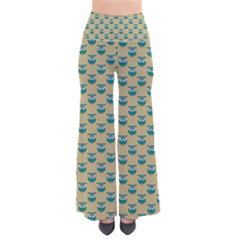 Small Teal Owls On Ecru Pants