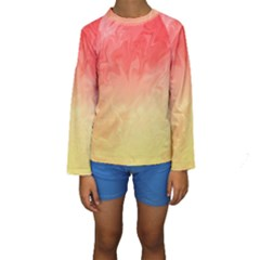 Ombre Orange Yellow Kid s Long Sleeve Swimwear