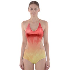 Ombre Orange Yellow Cut-Out One Piece Swimsuit