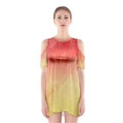 Ombre Orange Yellow Cutout Shoulder Dress