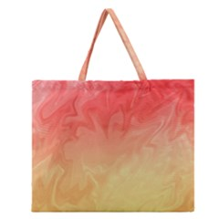 Ombre Orange Yellow Zipper Large Tote Bag
