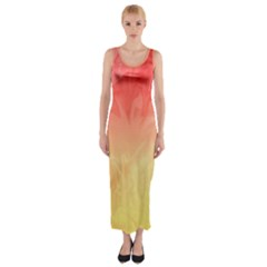 Ombre Orange Yellow Fitted Maxi Dress