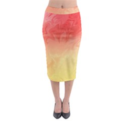 Ombre Orange Yellow Midi Pencil Skirt