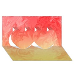 Ombre Orange Yellow Twin Hearts 3D Greeting Card (8x4)