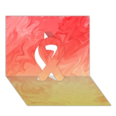 Ombre Orange Yellow Ribbon 3d Greeting Card (7x5)