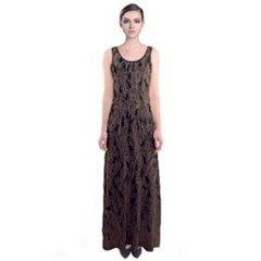 Brown Ombre Feather Pattern, Black,  Sleeveless Maxi Dress