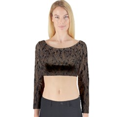 Brown Ombre Feather Pattern, Black,  Long Sleeve Crop Top