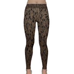 Brown Ombre Feather Pattern, Black,  Yoga Leggings