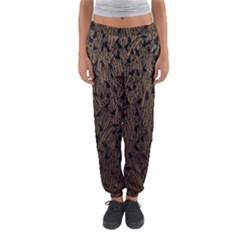 Brown Ombre Feather Pattern, Black,  Women s Jogger Sweatpants
