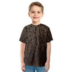 Brown Ombre Feather Pattern, Black,  Kid s Sport Mesh Tee