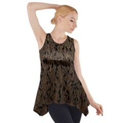 Brown Ombre Feather Pattern, Black,  Side Drop Tank Tunic