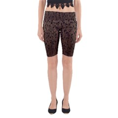 Brown Ombre Feather Pattern, Black,  Yoga Cropped Leggings