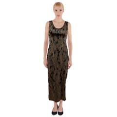 Brown Ombre Feather Pattern, Black,  Fitted Maxi Dress