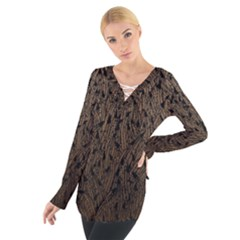 Brown Ombre Feather Pattern, Black,  Women s Tie Up Tee