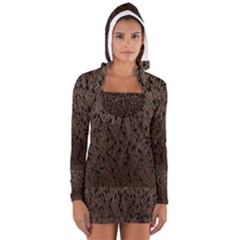 Brown Ombre Feather Pattern, Black,  Women s Long Sleeve Hooded T Shirt