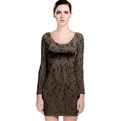 Brown Ombre Feather Pattern, Black,  Long Sleeve Velvet Bodycon Dress