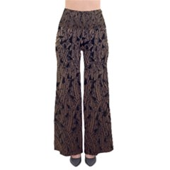 Brown Ombre Feather Pattern, Black,  Pants