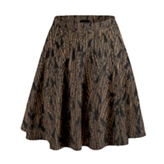 Brown Ombre Feather Pattern, Black,  High Waist Skirt