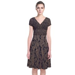 Brown Ombre Feather Pattern, Black,  Wrap Dress