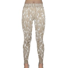 Brown Ombre Feather Pattern, White, Yoga Leggings