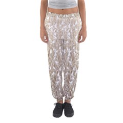 Brown Ombre Feather Pattern, White, Women s Jogger Sweatpants