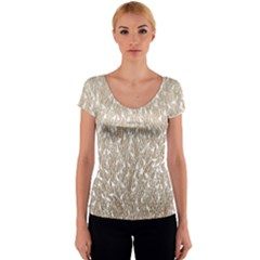 Brown Ombre Feather Pattern, White, Women s V-Neck Cap Sleeve Top